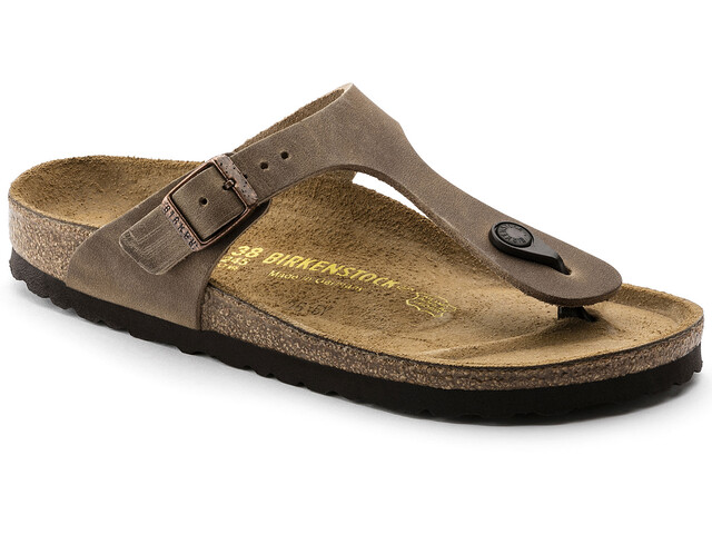 Birkenstock Gizeh Thong Sandals Oiled Leather Narrow tabacco brown